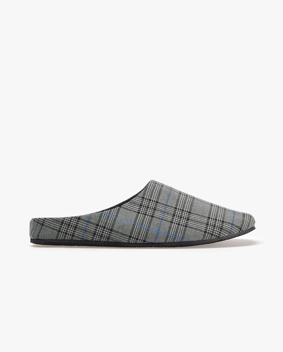 CHECKED FABRIC SLIPPERS
