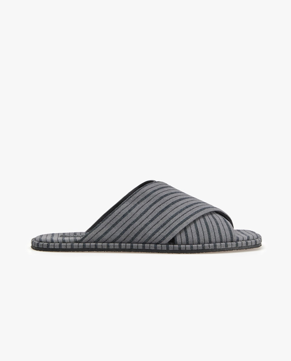 OPEN STRIPED FABRIC SLIPPERS