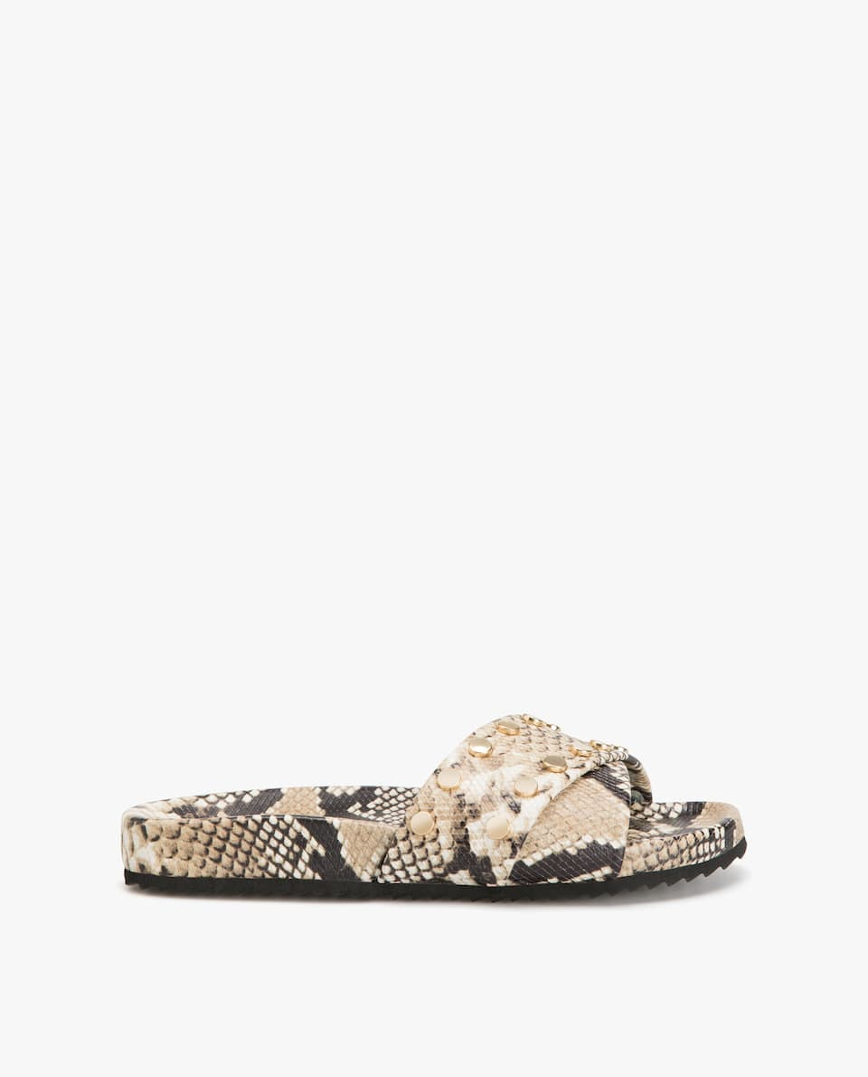 LEATHER SNAKESKIN PRINT SANDALS