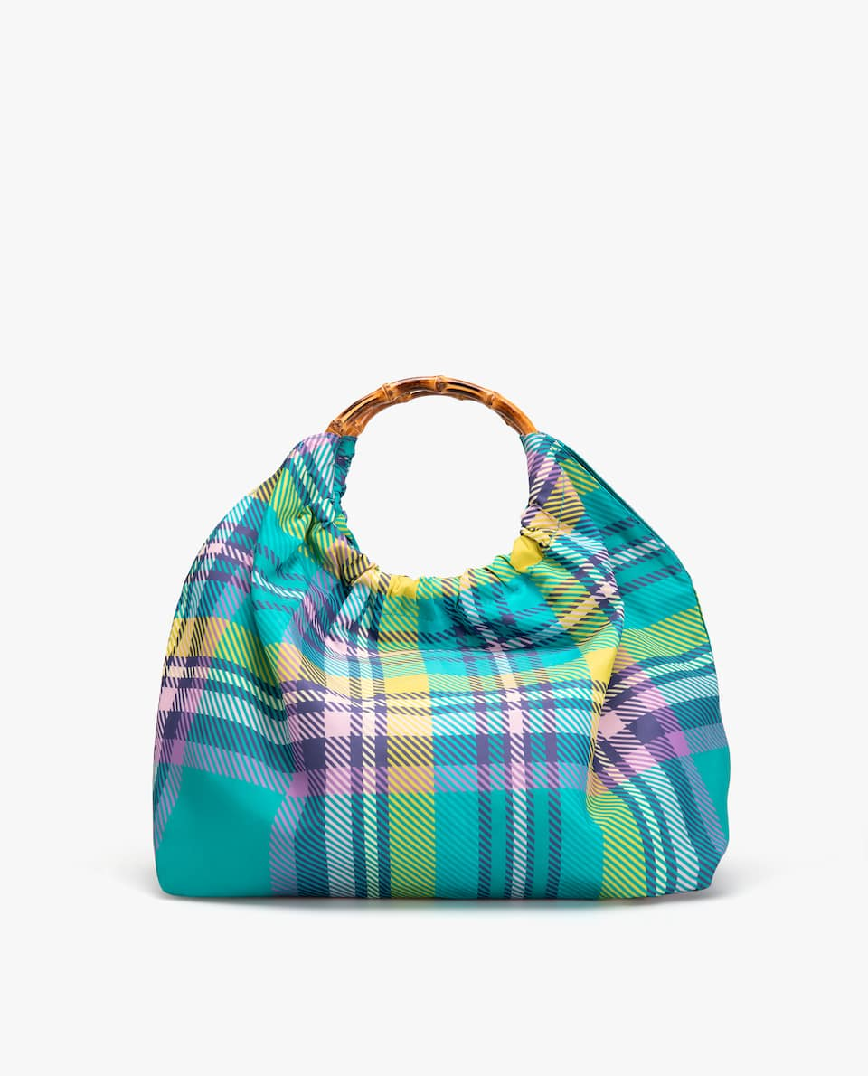 CHECK PRINT TOTE BAG WITH CIRCULAR HANDLES