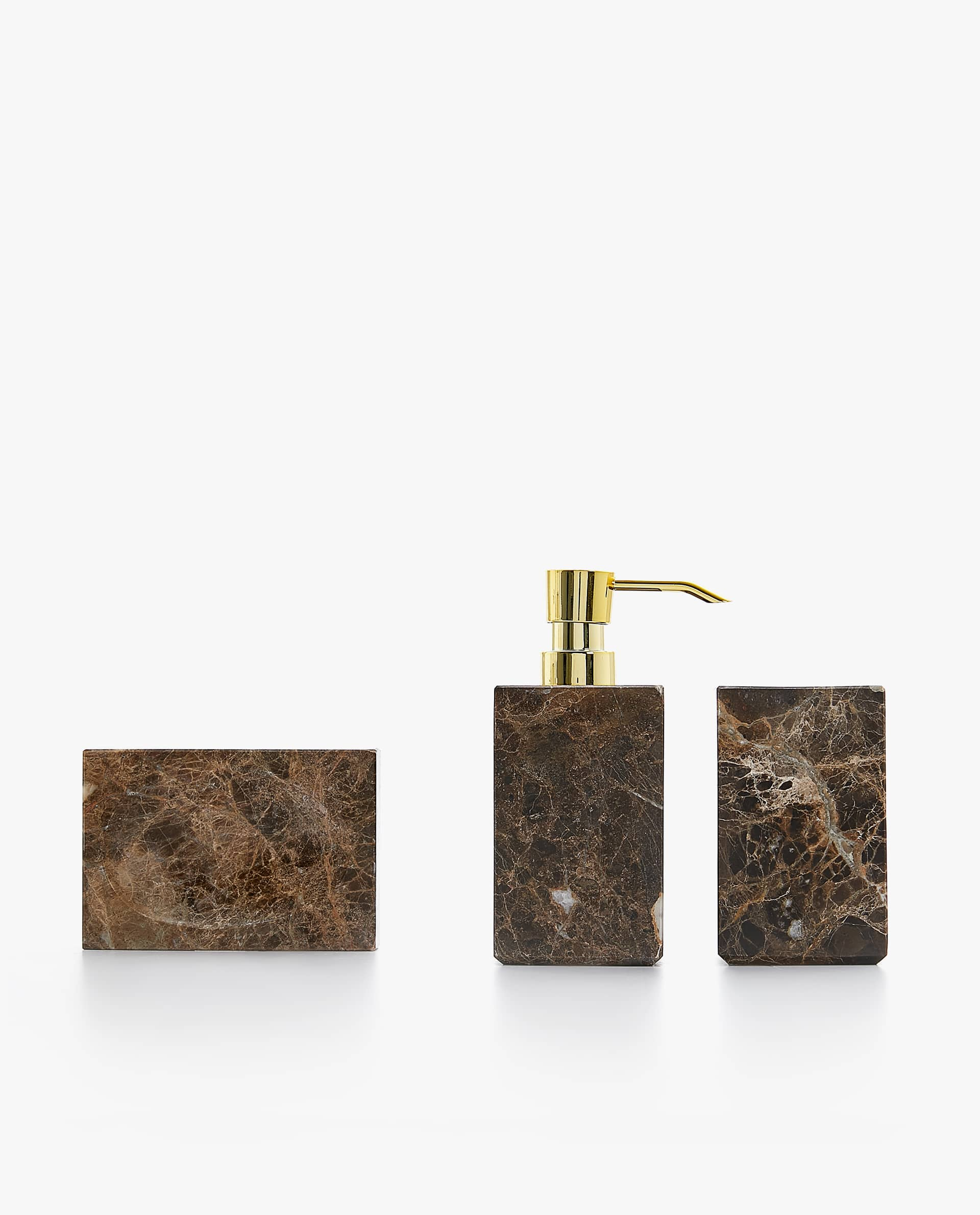 Brown Marble Bathroom Set Bathroom Accessories Bathroom Zara