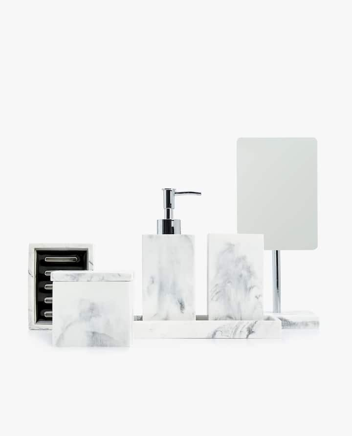 Image Of The Product Marble Effect Bathroom Set