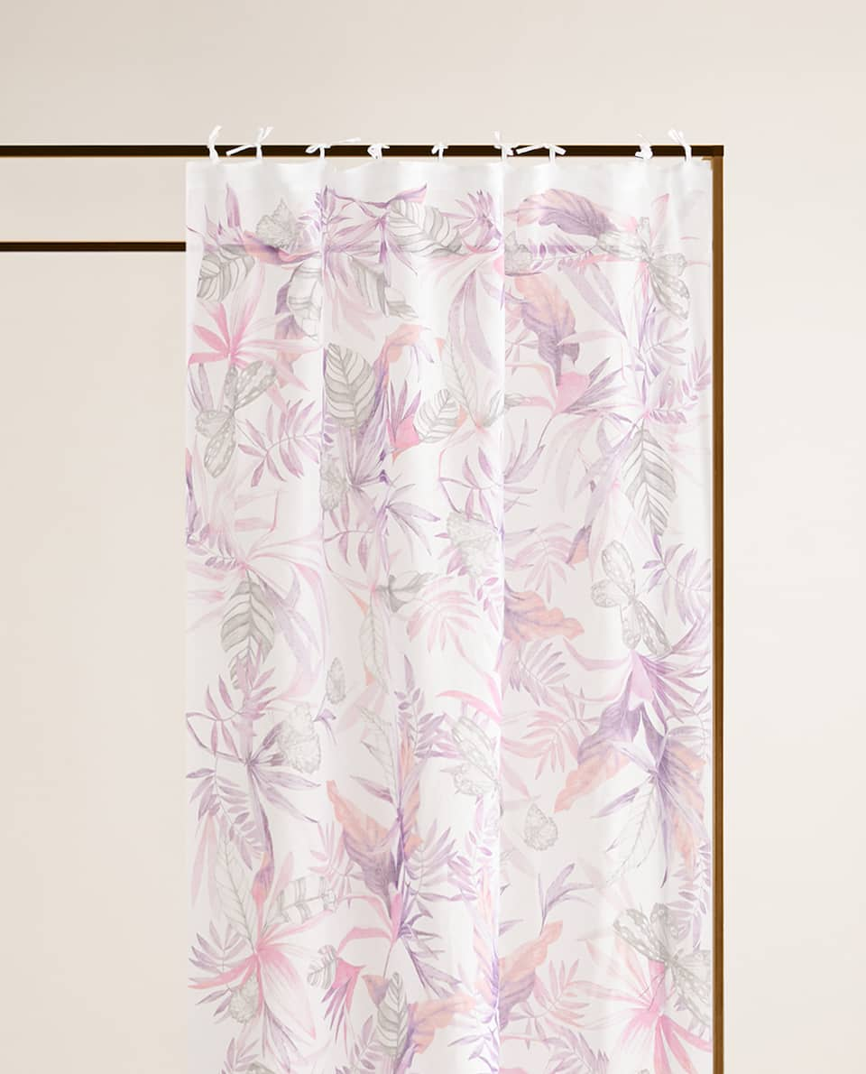PLANT AND BUTTERFLY PRINT CURTAIN