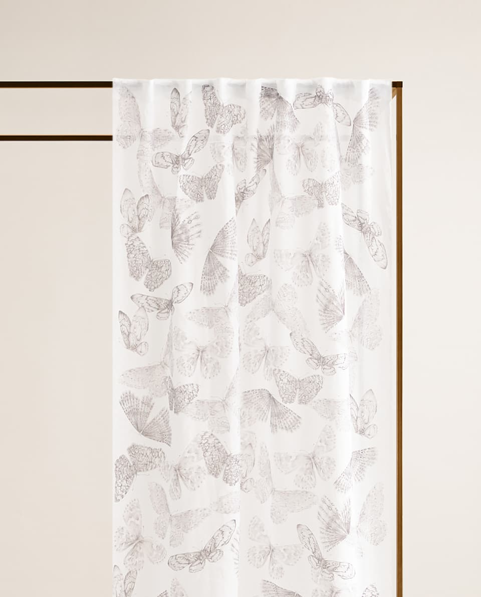 BUTTERFLY PRINT LINEN CURTAIN
