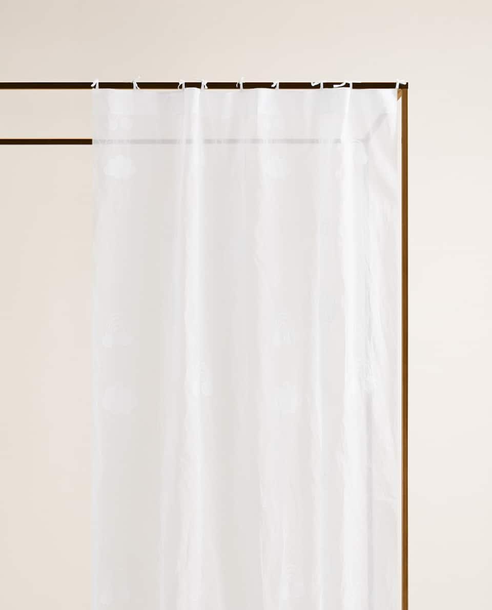 雲刺繍 オーガンザコットン カーテン