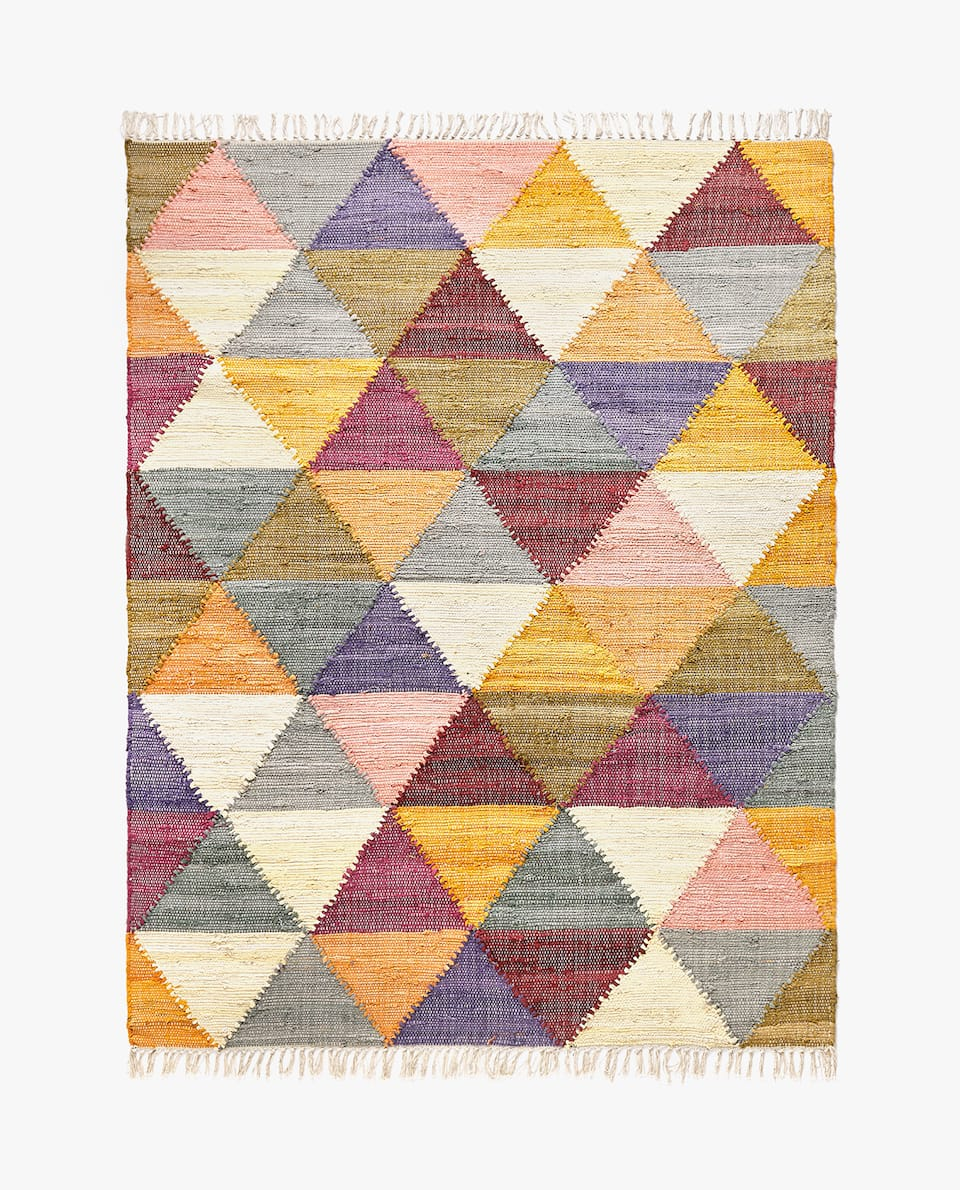COLOURFUL DIAMOND DESIGN COTTON RUG