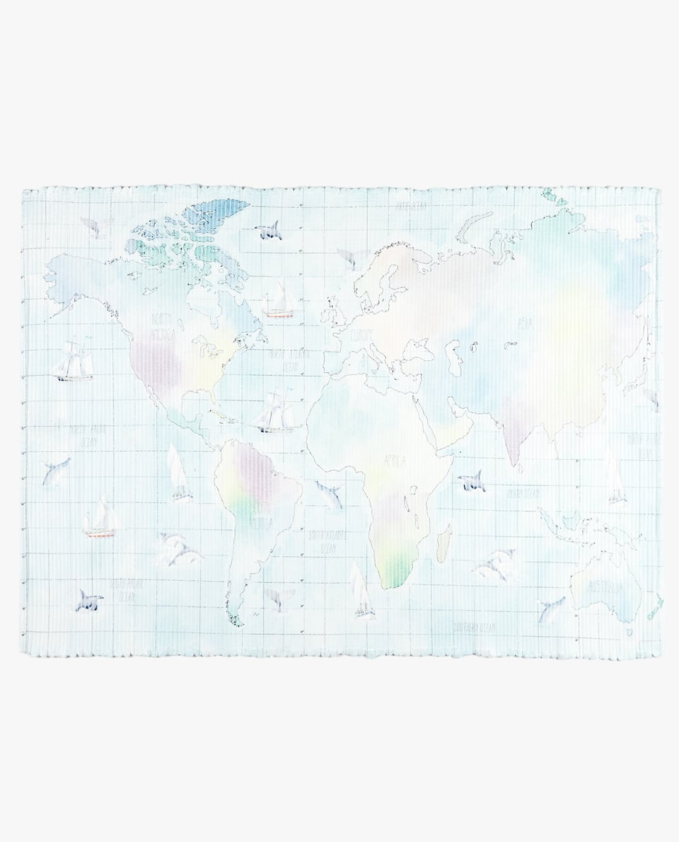 WORLD MAP COTTON RUG