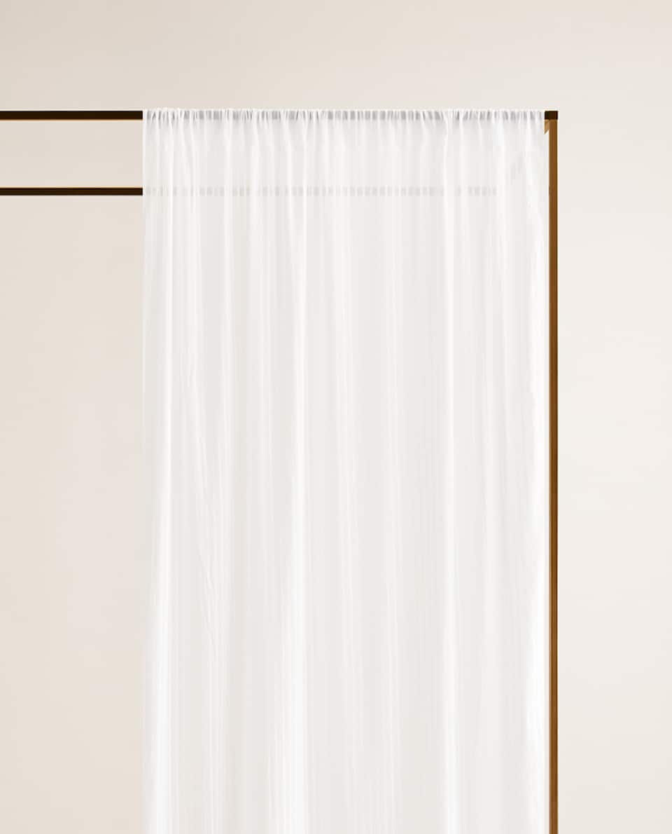 COTTON CURTAIN WITH EMBROIDERED LINES