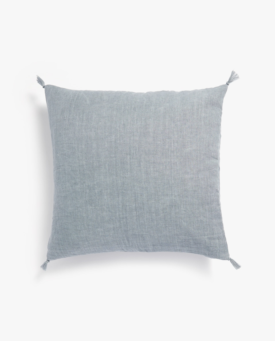 TASSELLED WASHED LINEN CUSHION COVER