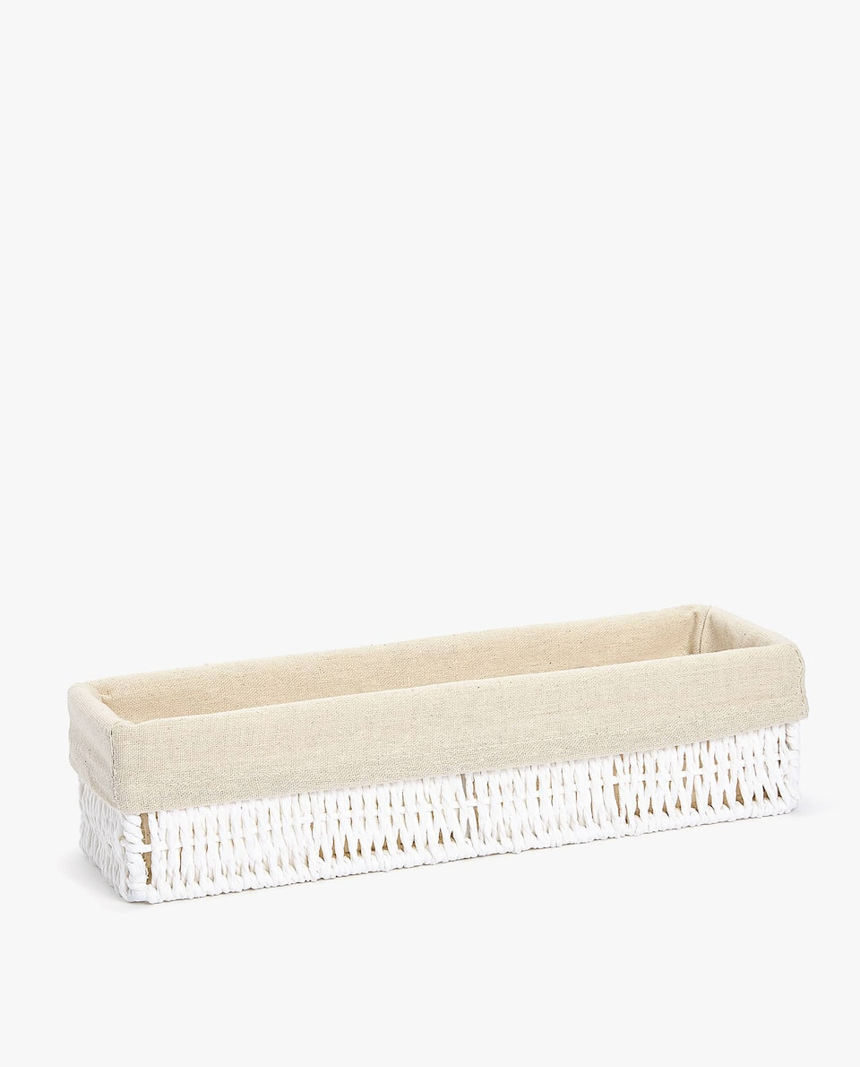 FABRIC-LINED RECTANGULAR BASKET
