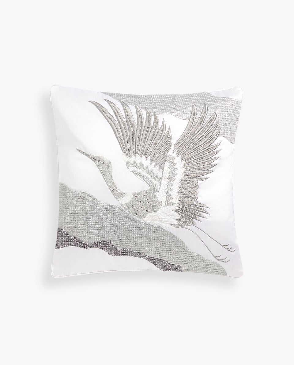 EMBROIDERED BIRD CUSHION COVER