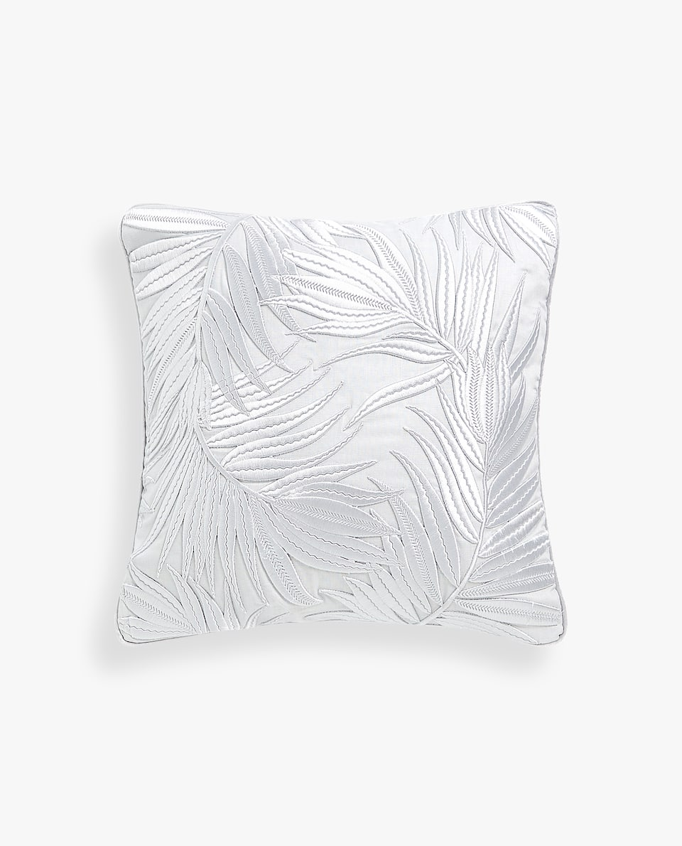 EMBROIDERED PALM TREE CUSHION COVER