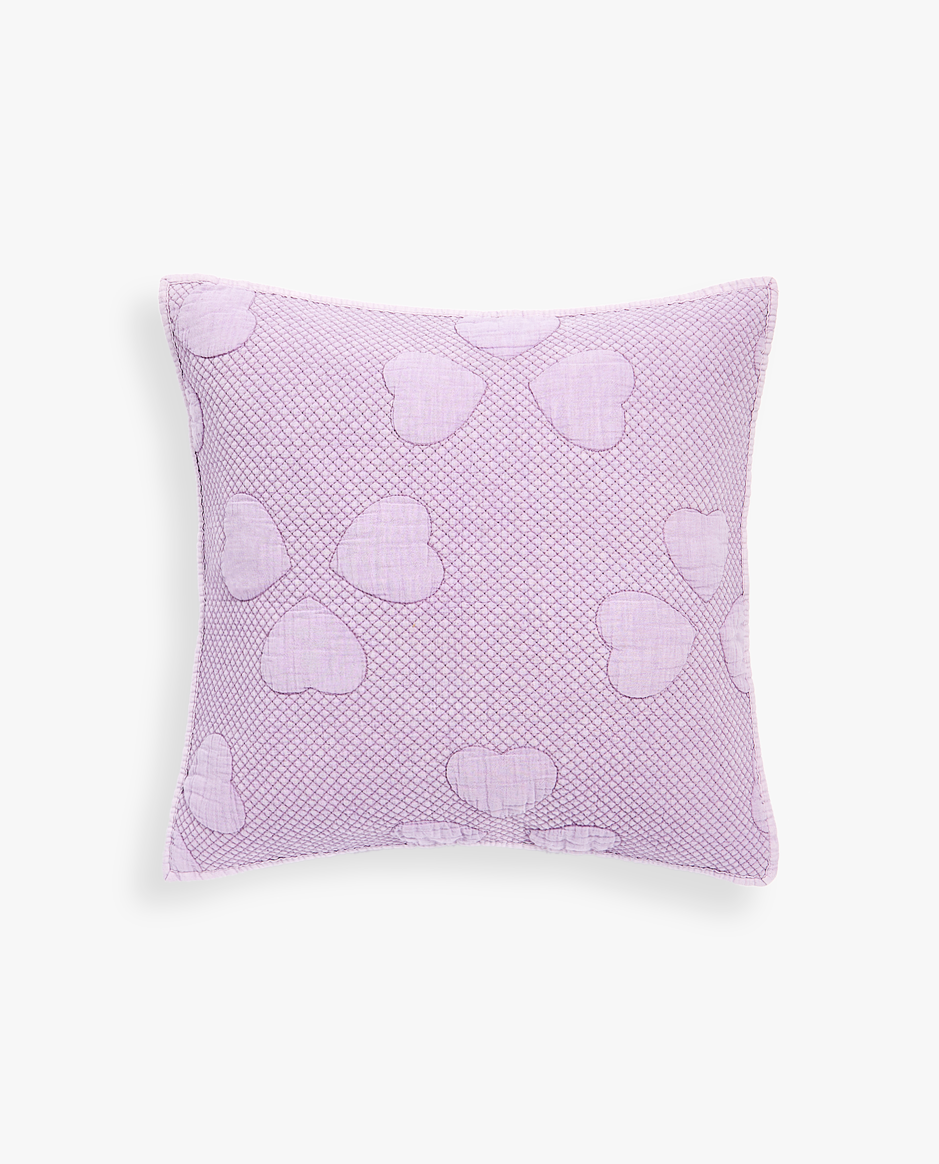 WASHED COTTON CUSHION COVER WITH RAISED HEART DESIGN