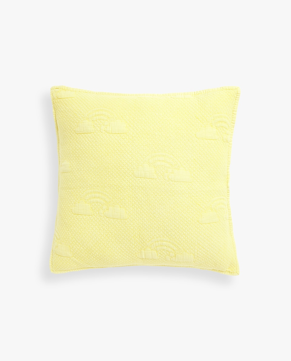 WASHED COTTON CUSHION COVER WITH RAISED DESIGN
