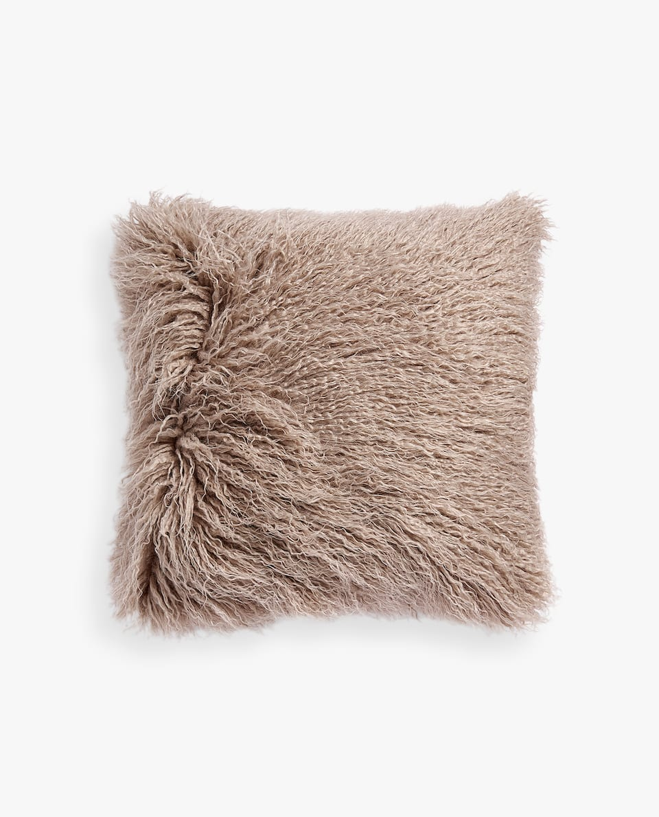 CUSHION COVER WITH LONG FAUX FUR