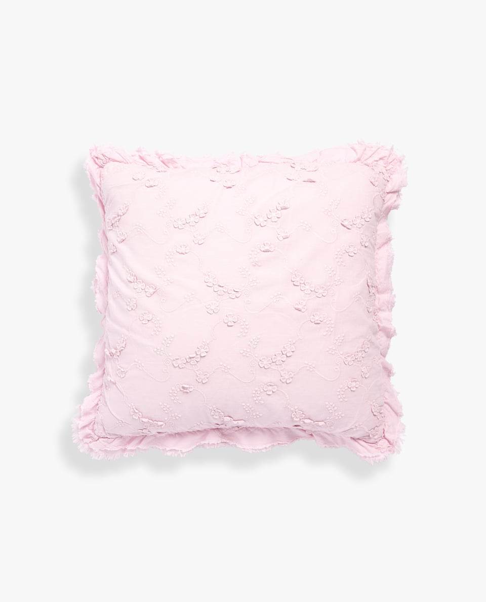 FLORAL JACQUARD CUSHION COVER