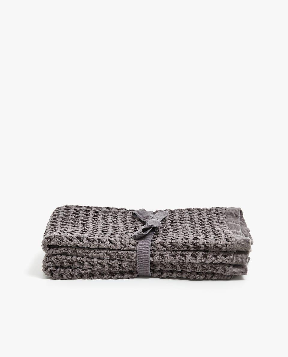 JACQUARD WAFFLE TOWEL (SET OF 2)