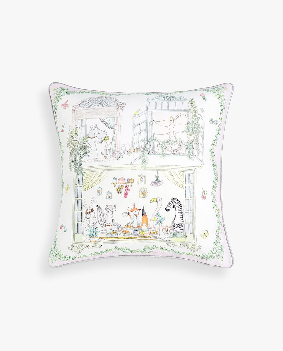 TEA PARTY HOUSE CUSHION COVER
