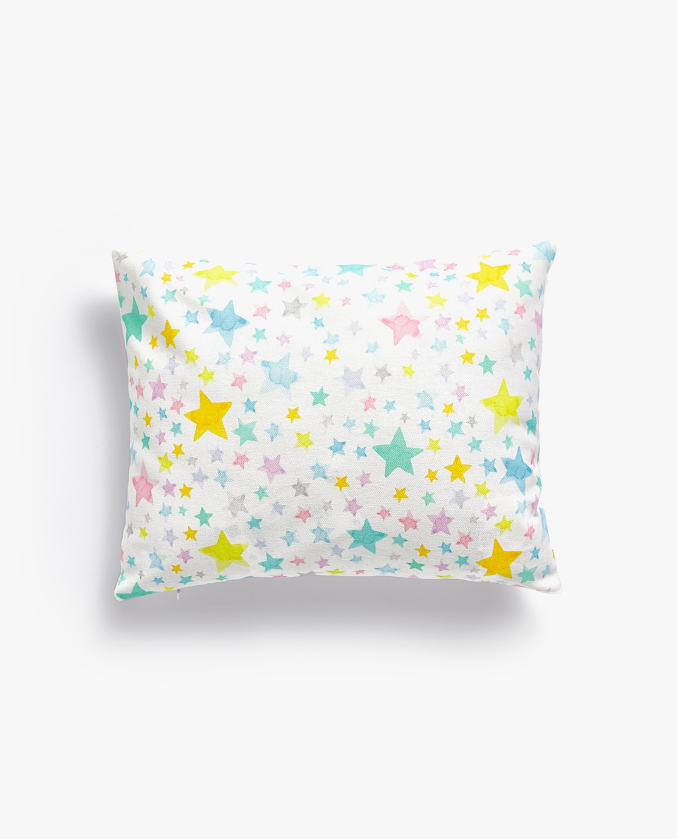 MULTICOLOURED STAR PRINT CUSHION COVER