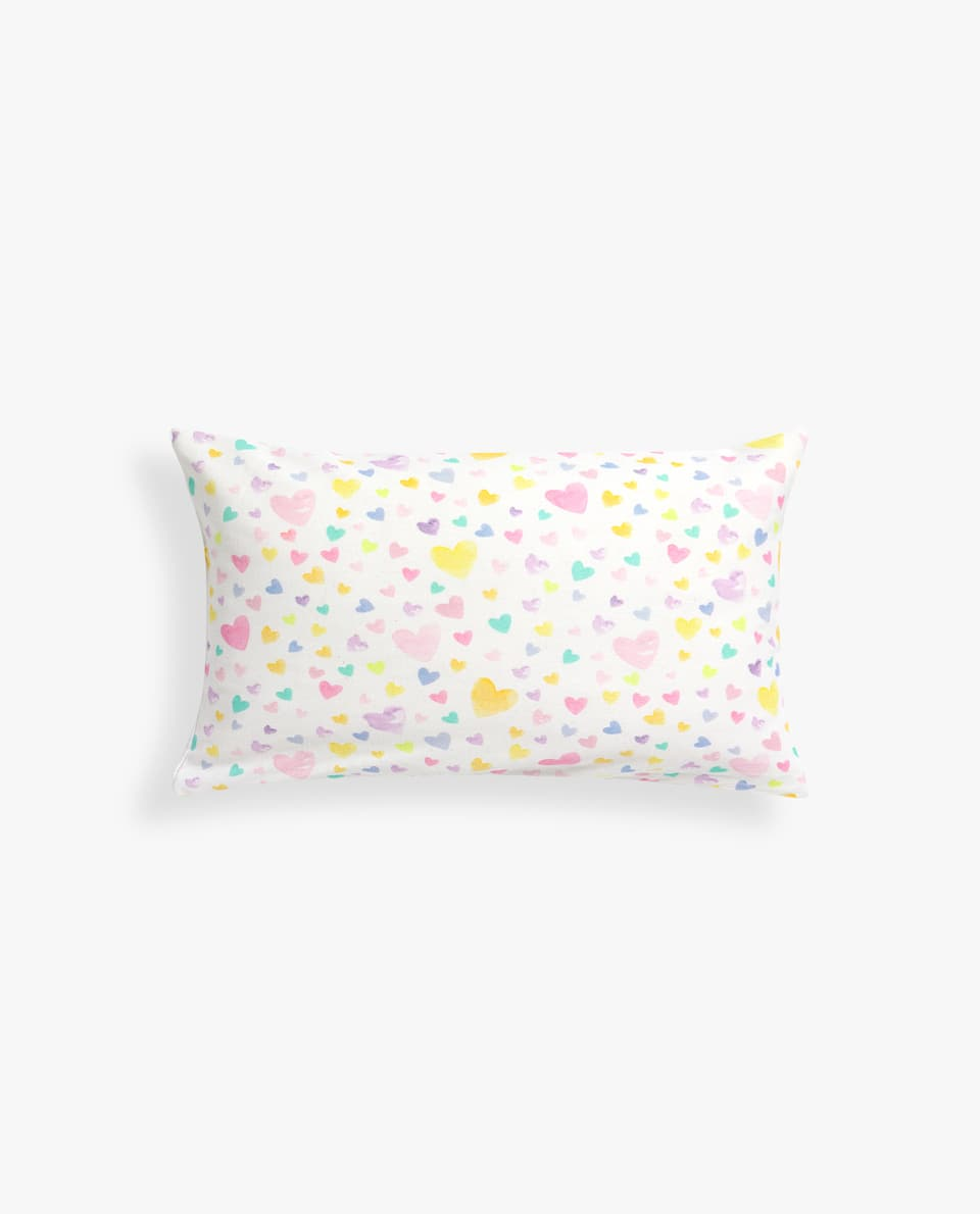 MULTICOLOURED HEART PRINT CUSHION COVER