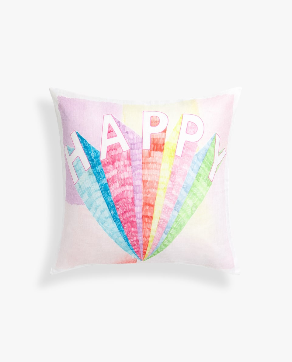 HAPPY PRINT CUSHION COVER