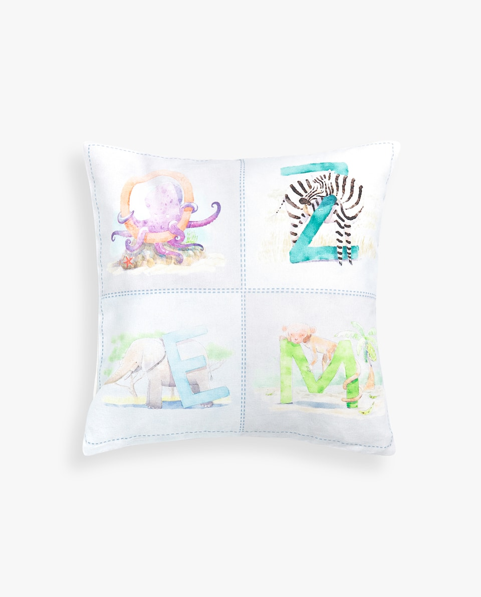 ALPHABET PRINT CUSHION COVER