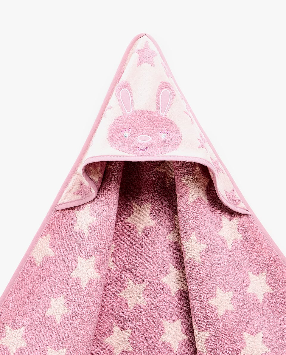 JACQUARD RABBIT AND STAR HOODED TOWEL
