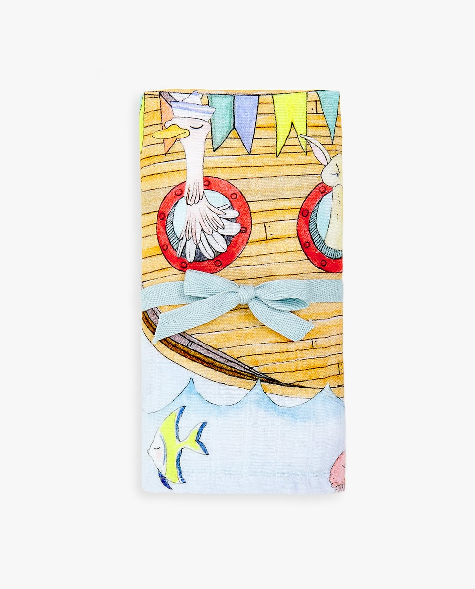 BOAT PLACEMENT PRINT GAUZE MUSLIN