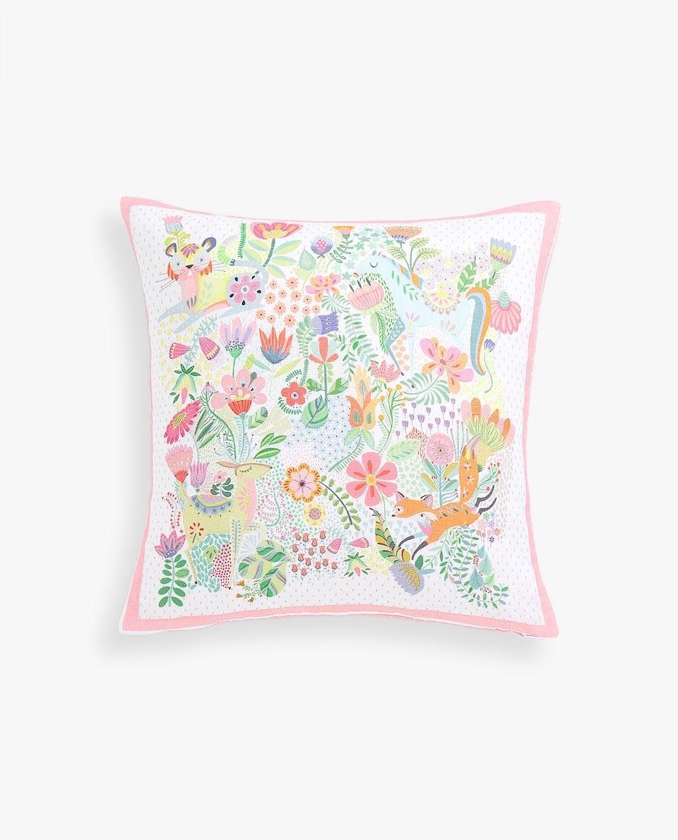 FOREST CREATURES LINEN CUSHION COVER