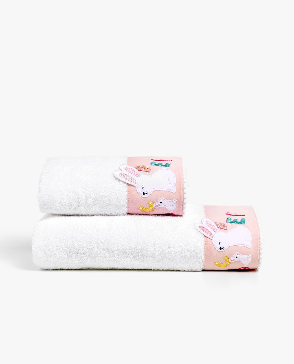 RABBIT AND ALPHABET APPLIQUÉ TOWEL