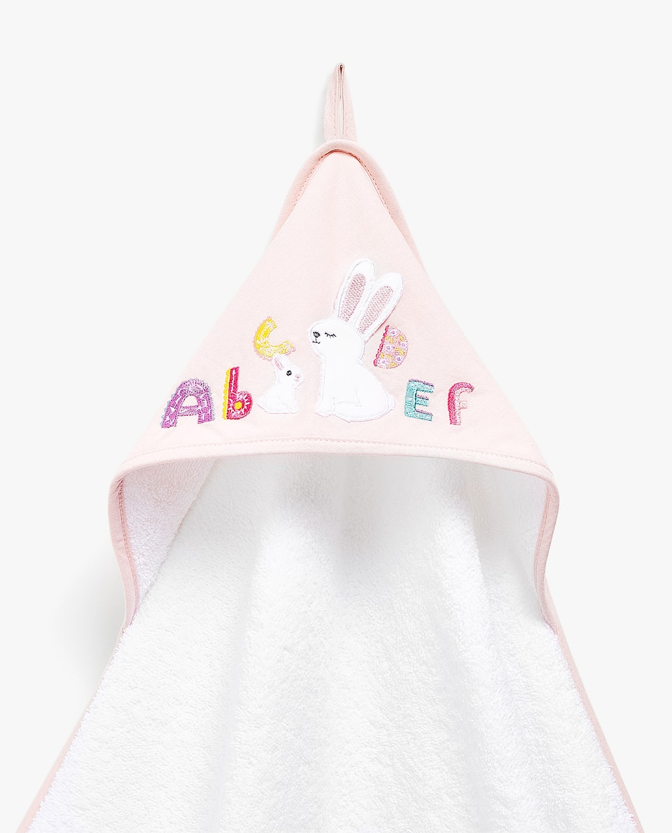 RABBIT AND ALPHABET APPLIQUÉ HOODED TOWEL