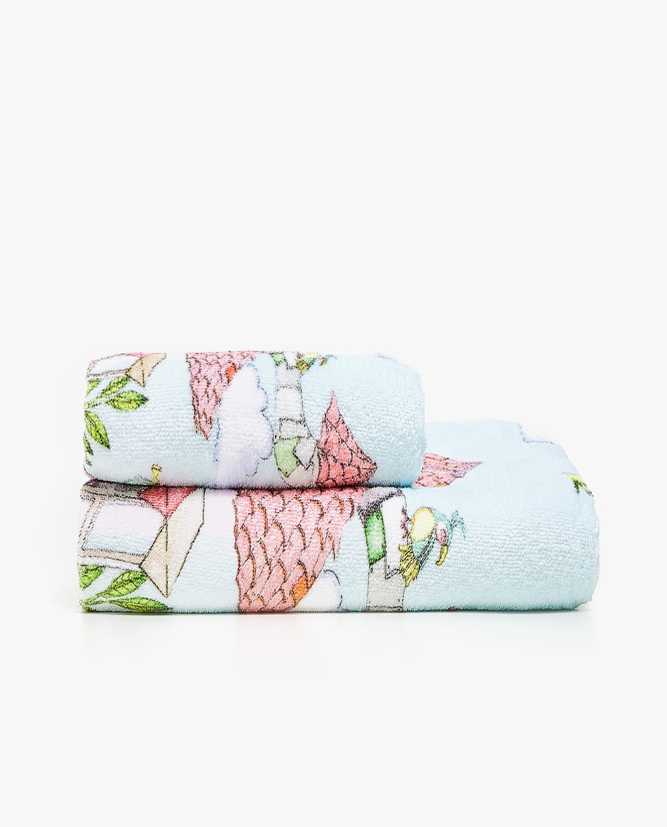 MULTICOLOURED TEAPOT PRINT TOWEL