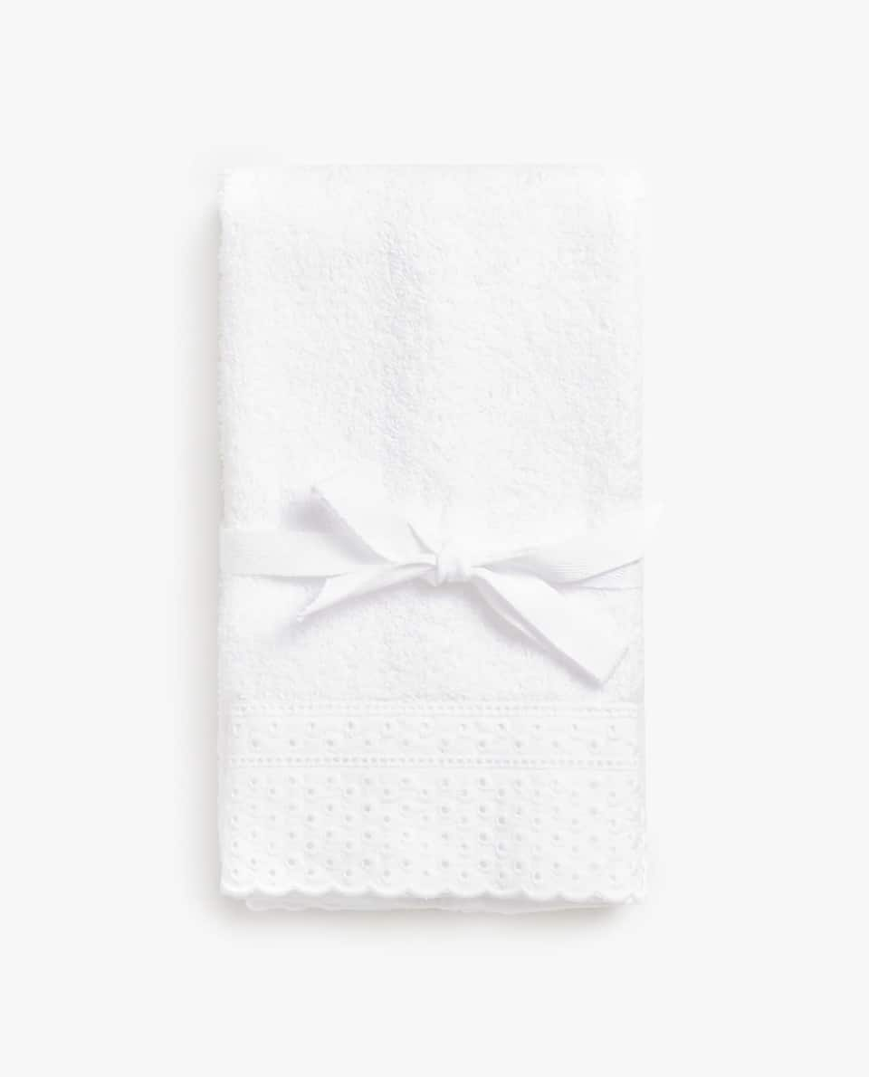 TOWEL WITH EMBROIDERED STRIP (SET OF 2)