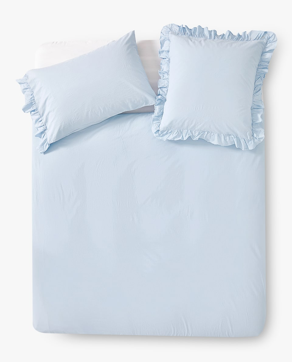ASIA EXCLUSIVE DESIGN FADED PERCALE DUVET COVER WITH RUFFLE TRIM