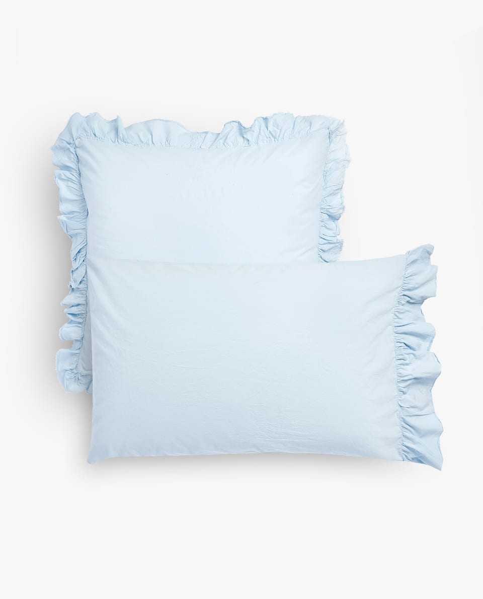 ASIA EXCLUSIVE DESIGN FRILLED WASHED COTTON PERCALE PILLOWCASE