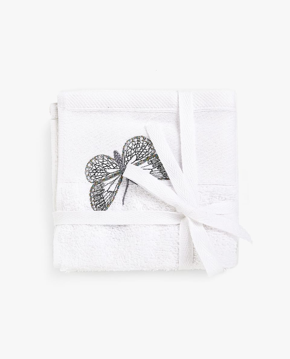 BUTTERFLY EMBROIDERY TOWEL (SET OF 3)