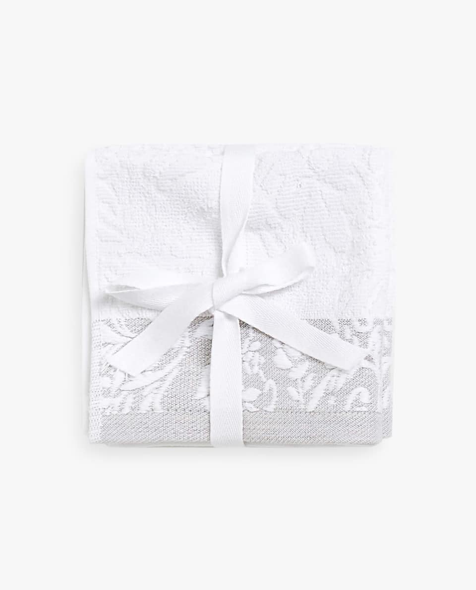 FLORAL MOTIF TOWEL (SET OF 3)