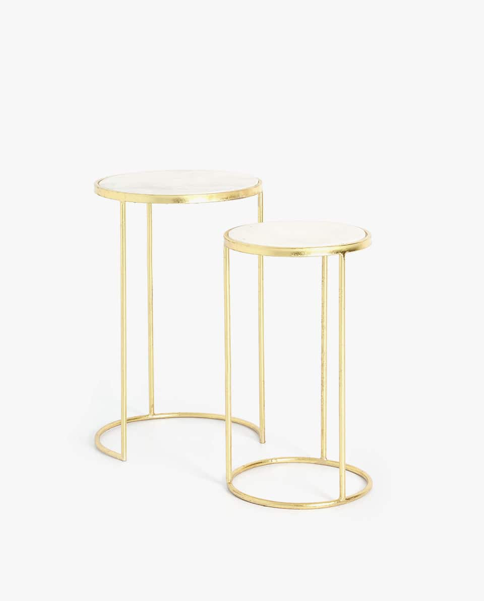 GOLDEN TALL MARBLE TABLE (SET OF 2)