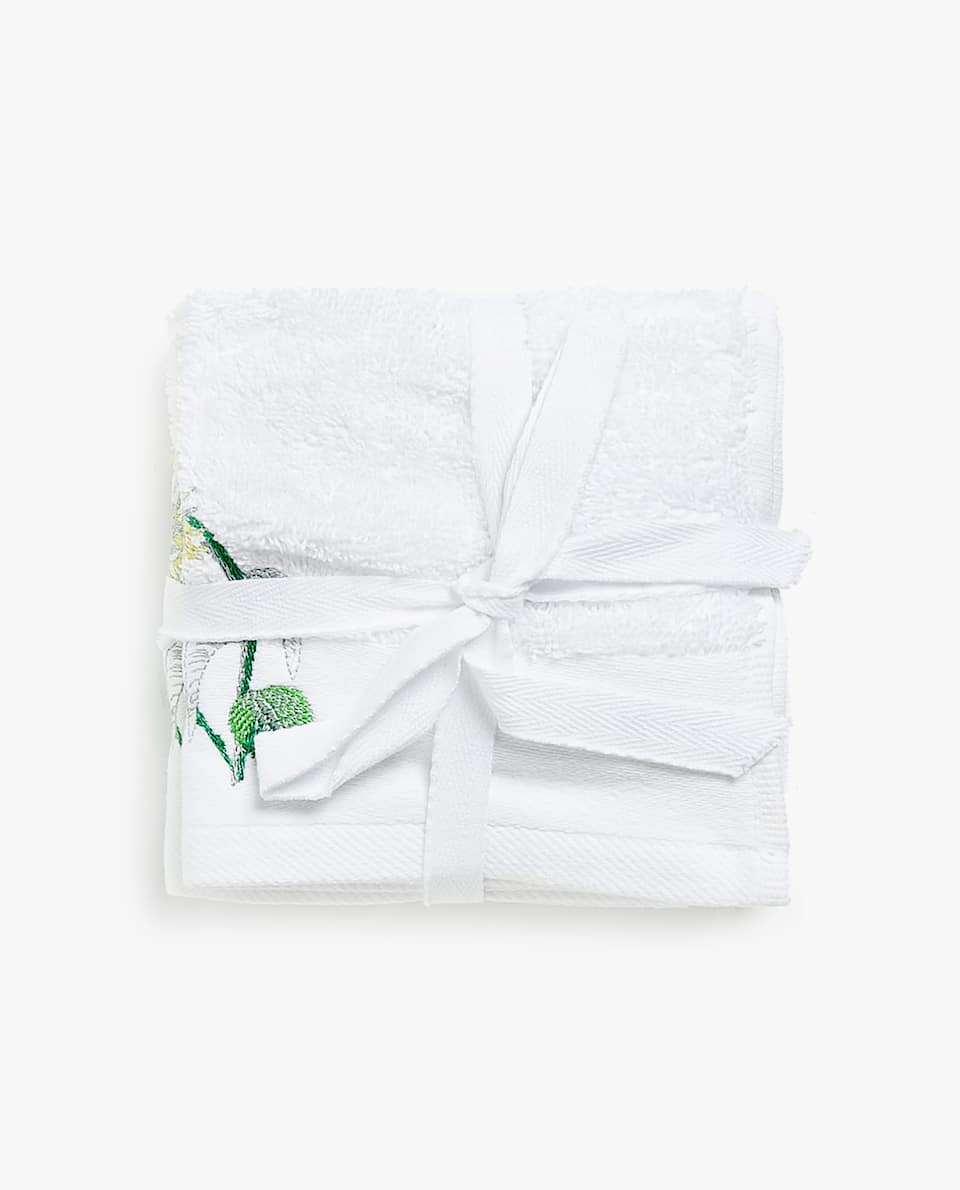 FLORAL EMBROIDERY TOWEL (SET OF 3)