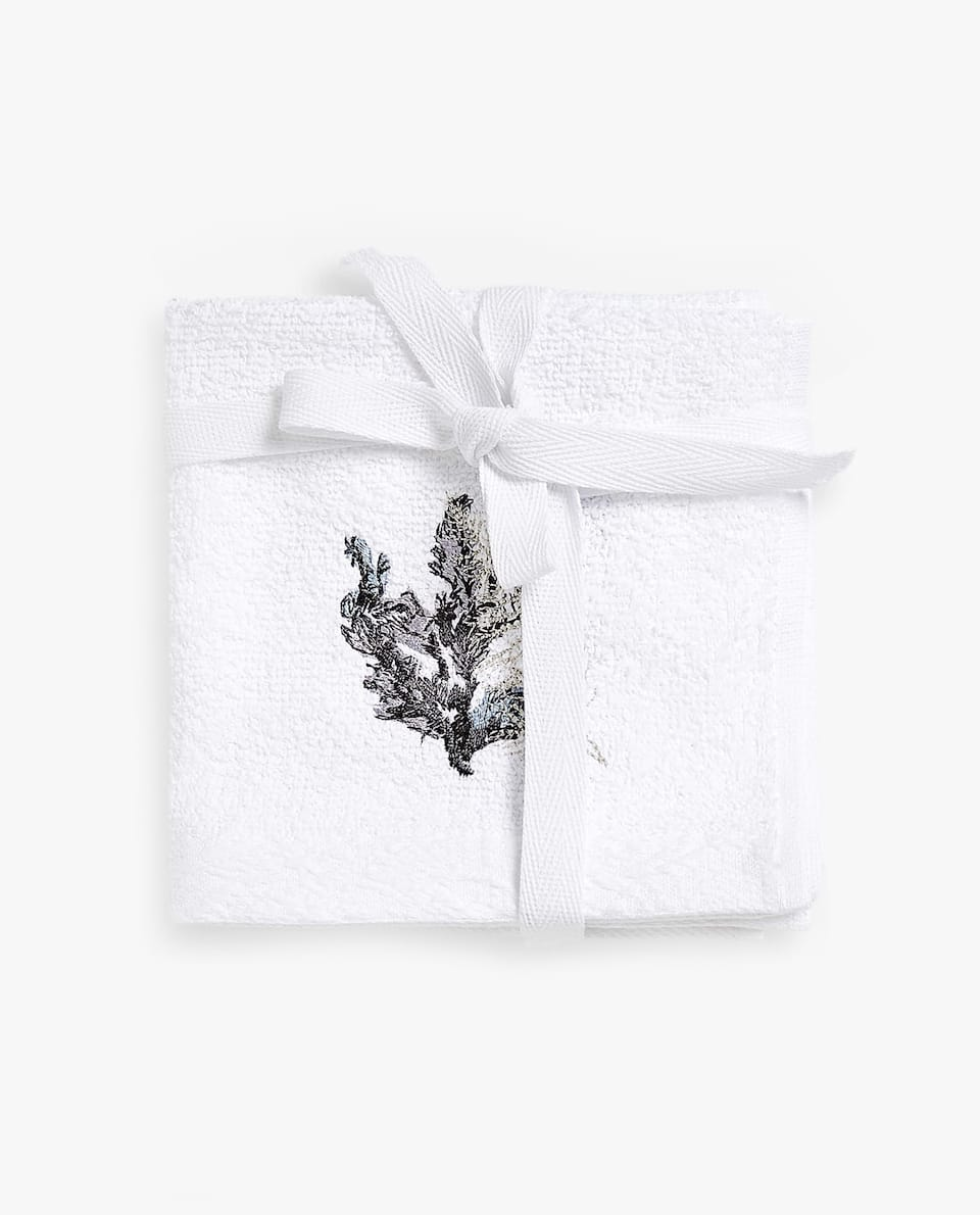 CONTRAST EMBROIDERY TOWEL (SET OF 3)