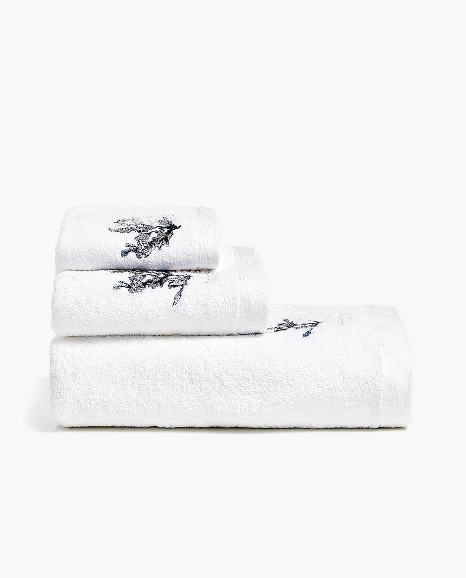 CONTRAST EMBROIDERY TOWEL