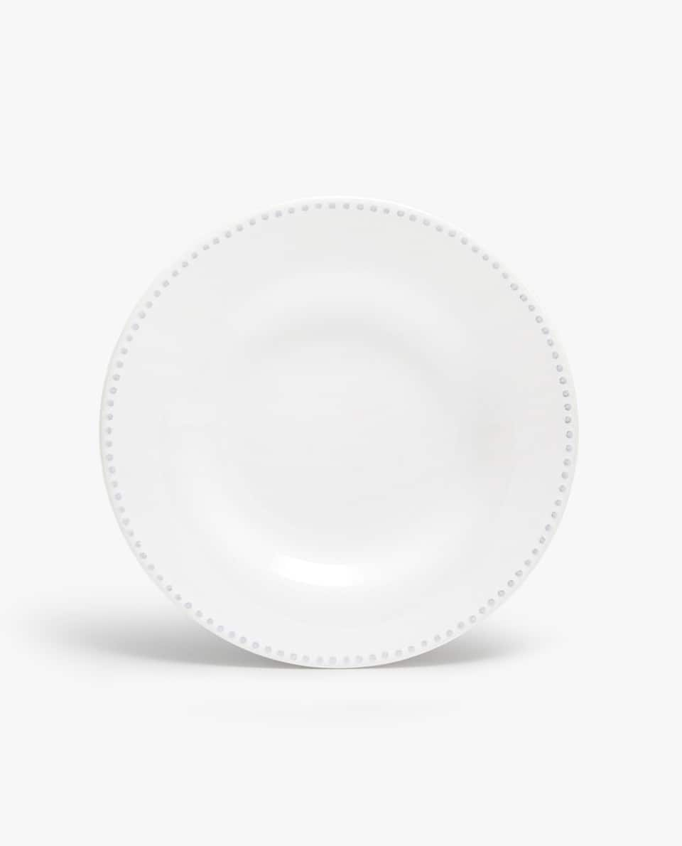 EARTHENWARE SOUP PLATE WITH RAISED-DESIGN EDGE
