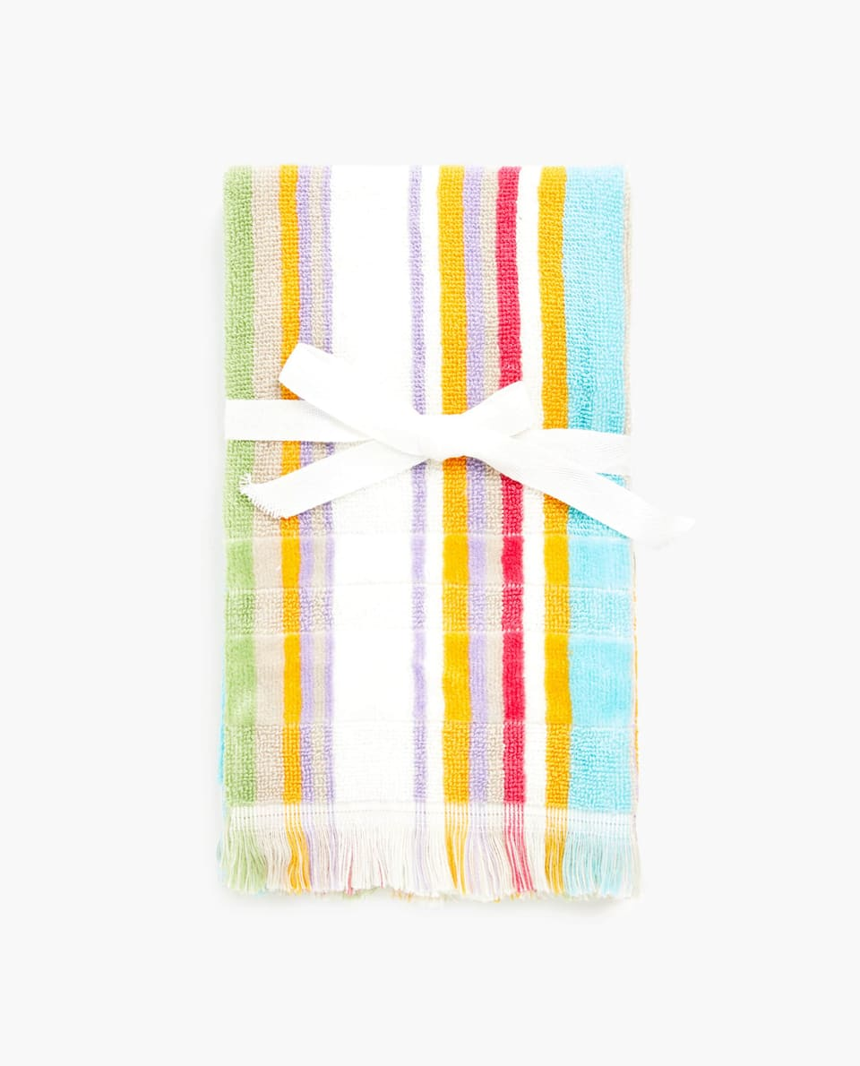 TOWEL WITH CONTRAST STRIPES (SET OF 2)
