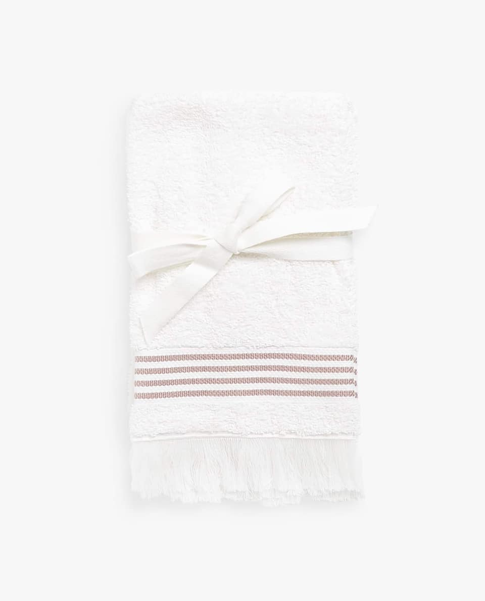 TOWEL WITH STRIPED BORDER (SET OF 2)