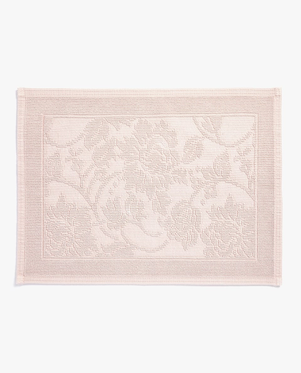 RAISED FLORAL DESIGN BATH MAT