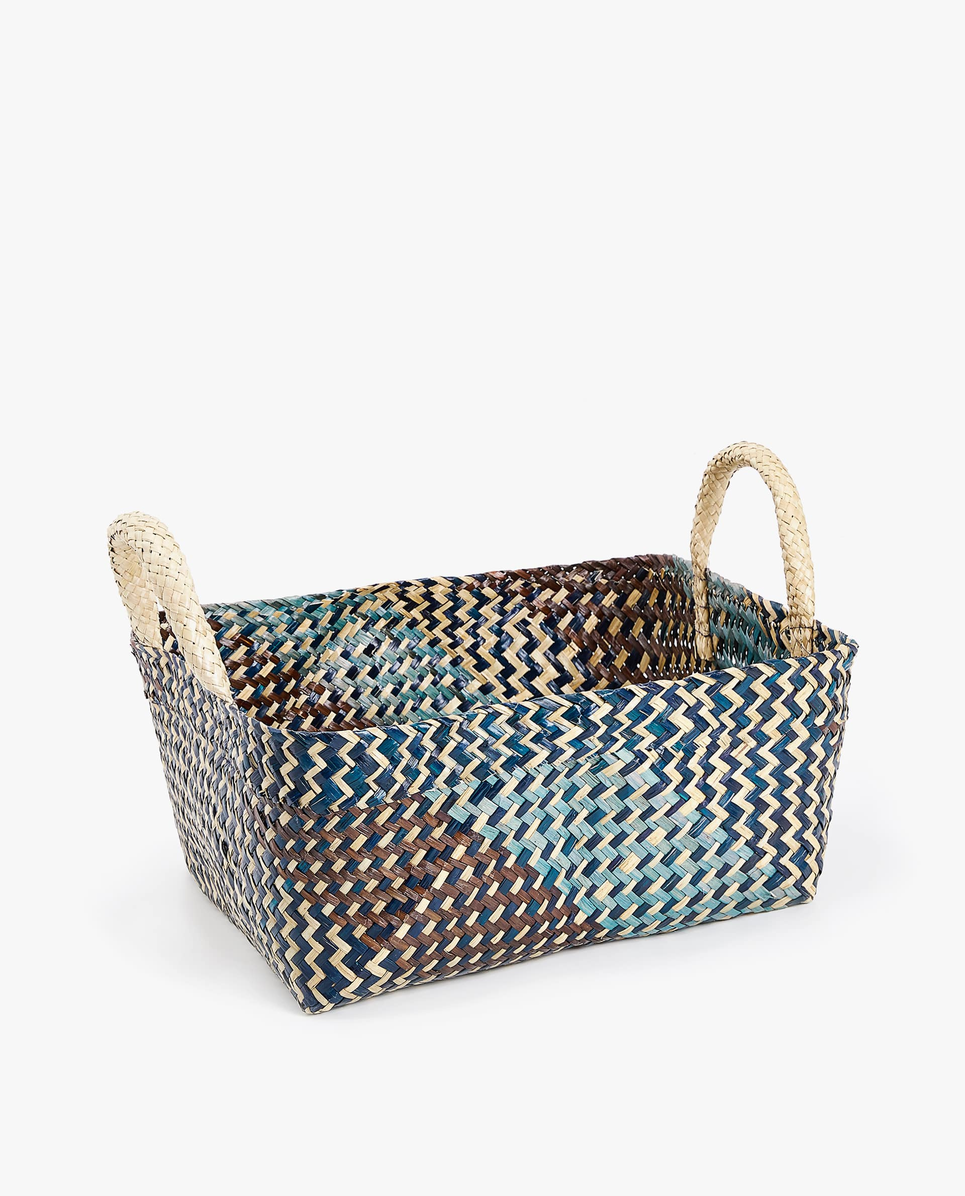 Large Two Tone Basket With Handles