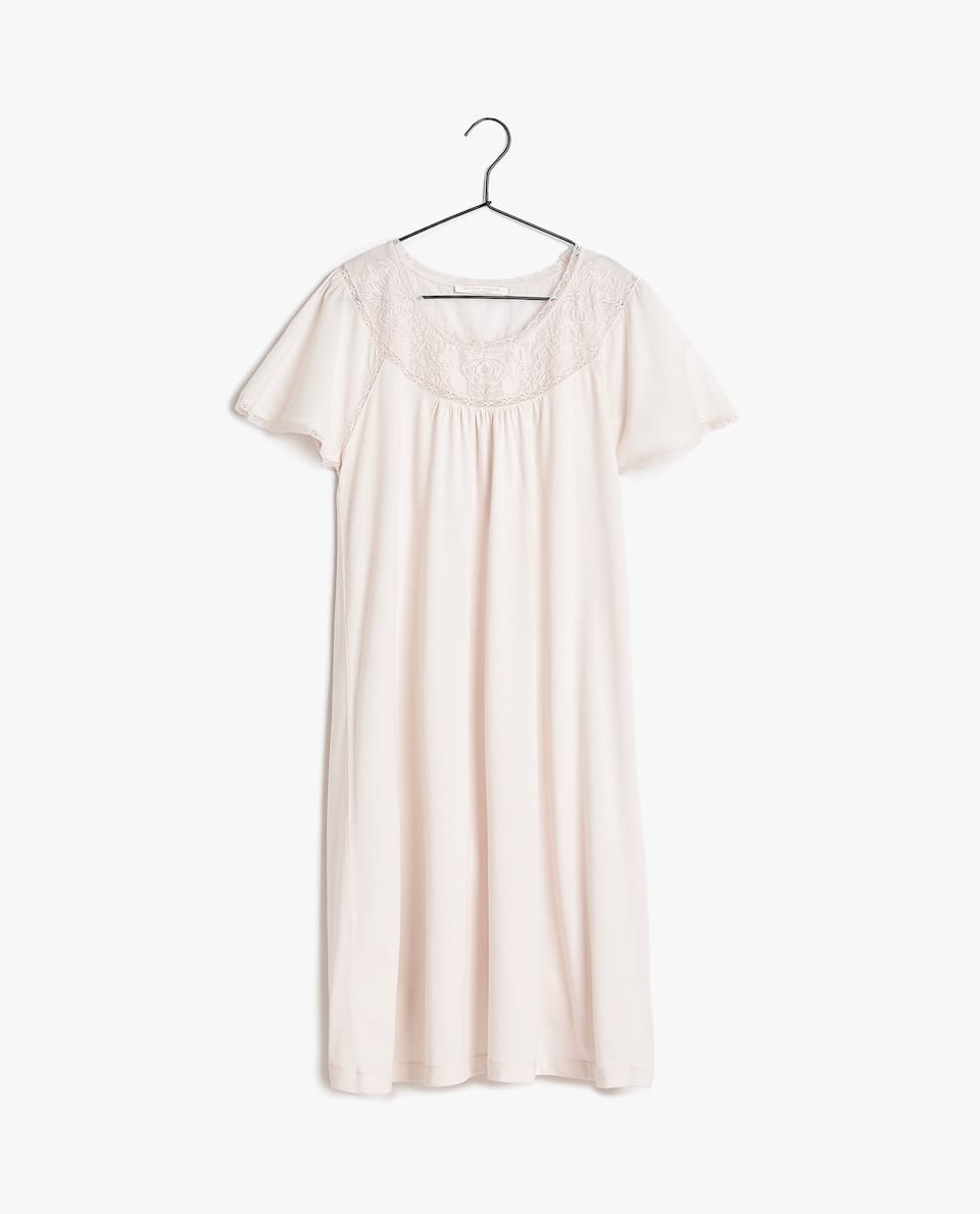 EMBROIDERED COTTON JERSEY NIGHTDRESS