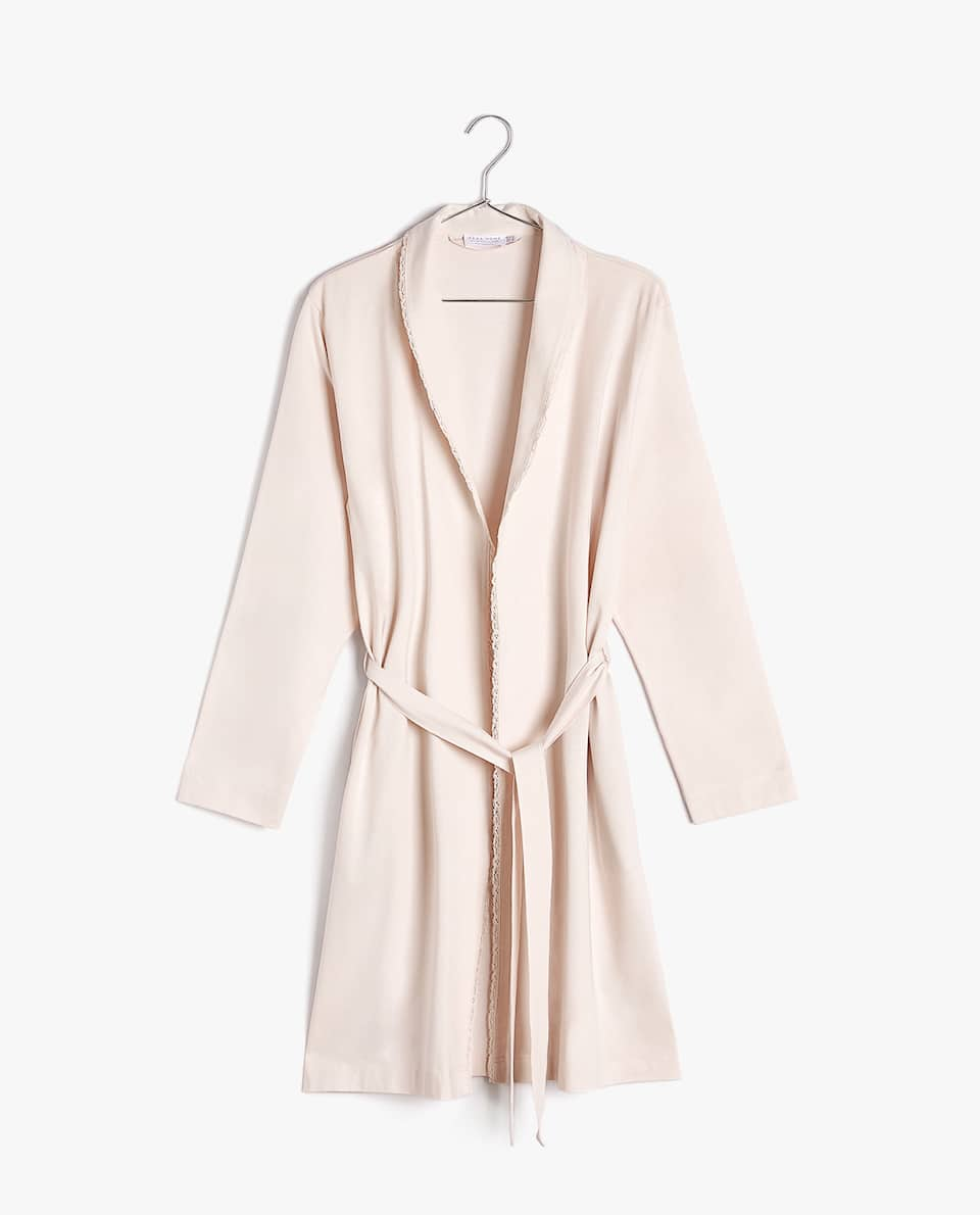 COTTON DRESSING GOWN WITH LACE TRIM