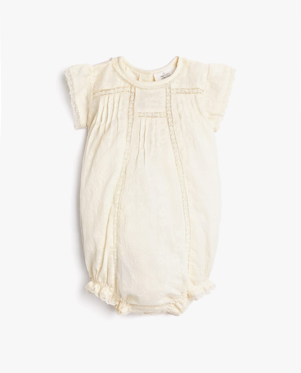 EMBROIDERED COTTON ROMPER SUIT