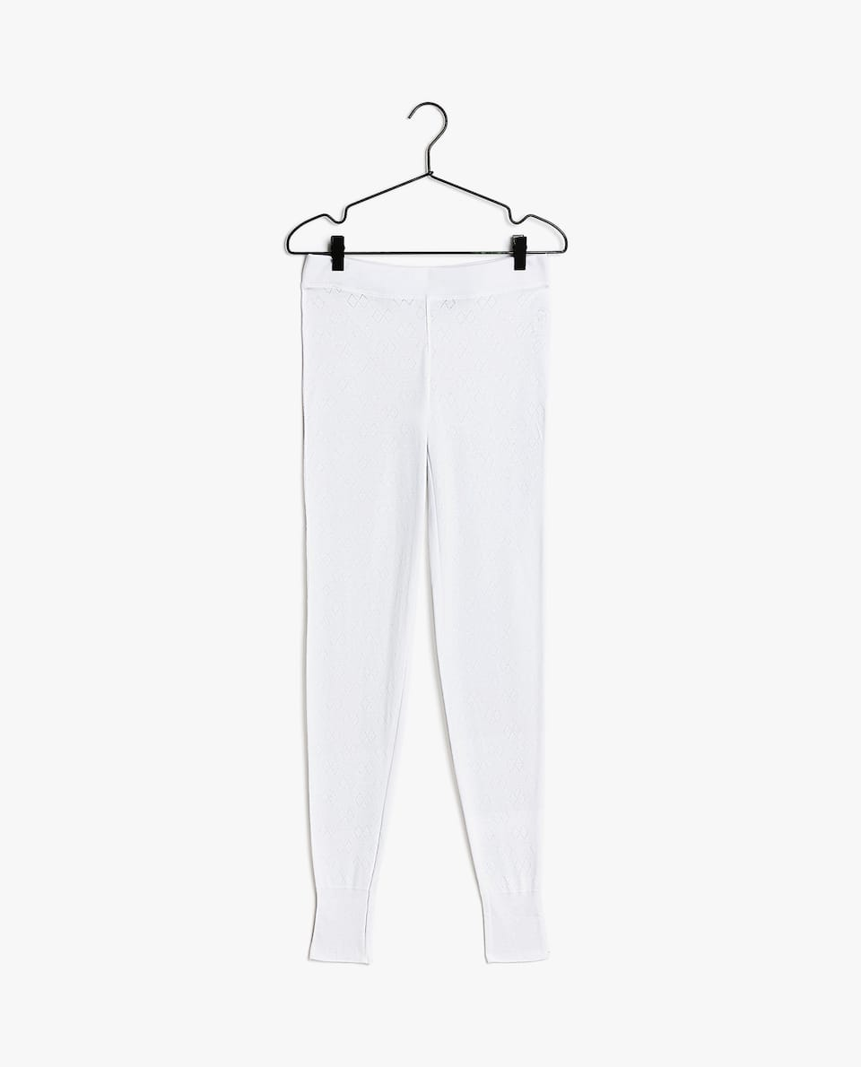TEXTURED KNIT COTTON TROUSERS